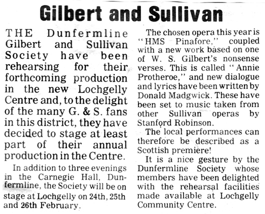 From the Lochgelly Times, 20 January 1977